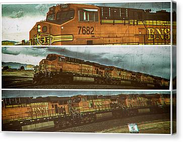 Canvas Print featuring the digital art Bnsf 7682 Triptych  by Bartz Johnson