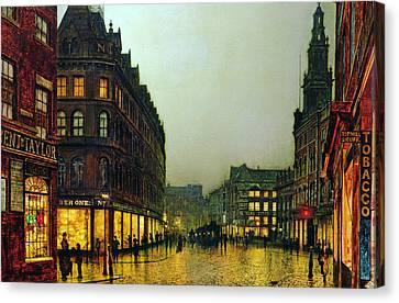 Boar Lane Leeds Canvas Print by John Atkinson Grimshaw