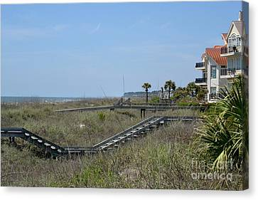 Canvas Print featuring the photograph Boardwalks And Sand Dunes by Carol  Bradley