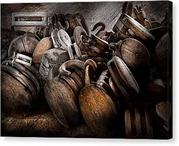 Boat - Block And Tackle  Canvas Print by Mike Savad