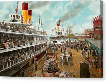 Boat - A Vacation To Remember - 1901 Canvas Print by Mike Savad