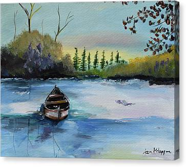 Canvas Print featuring the painting Boat Abandoned On The Lake by Jan Dappen
