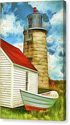 Boat And Lighthouse, Monhegan, Maine Canvas Print by Dave Higgins