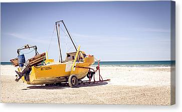 Canvas Print featuring the photograph Boat And The Beach by Silvia Bruno