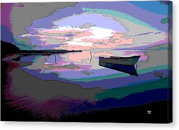 Sun Rays Canvas Print - Boat At Night by Charles Shoup