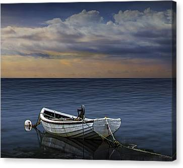 Boat At Sunset Canvas Print by Randall Nyhof