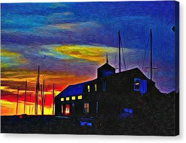 Boat Builder's Dawn Canvas Print by Jeffrey Canha