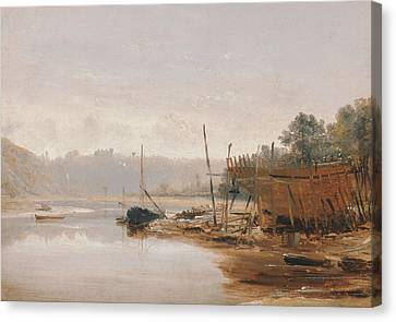 Boat Building Near Dinan, Brittany Canvas Print by Francis Danby