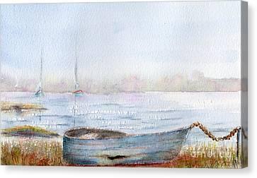 Boat By A Lake. Canvas Print by Kim Hamilton
