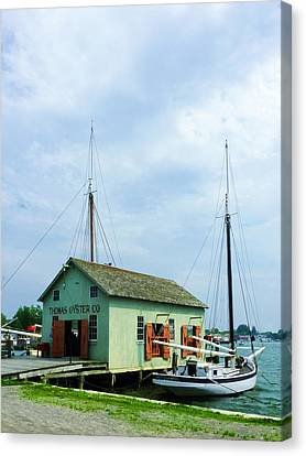 Canvas Print featuring the photograph Boat By Oyster Shack by Susan Savad