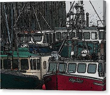 Boat City 2 Canvas Print by Roger Charlebois