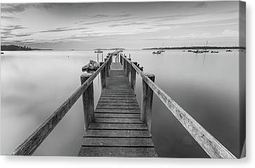Boat Dock At Sunrise Black-and-white Panorama Canvas Print