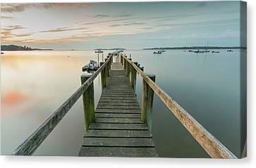 Boat Dock At Sunrise Grey Blue Panorama Canvas Print