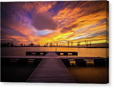 Boat Dock Sunset Canvas Print