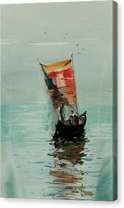 Canvas Print featuring the painting Boat by Helal Uddin