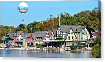 Rocky Statue Canvas Print - Boat House Row Panoramic by Frozen in Time Fine Art Photography
