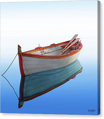 Boat In A Tranquil Bay Canvas Print