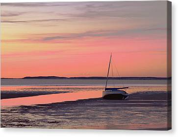 Boat In Cape Cod Bay At Sunrise Canvas Print