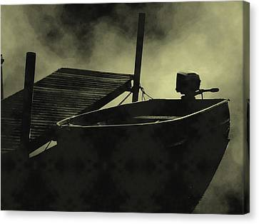 Boat In Fog Canvas Print by Michael L Kimble