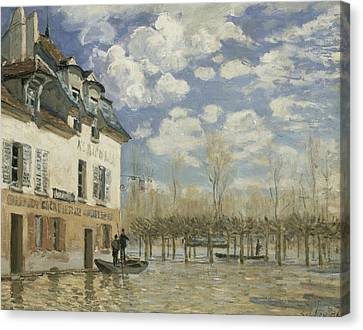 Boat In The Flood At Port Marly Canvas Print by Alfred Sisley