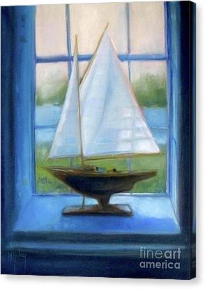 Toy Boat Canvas Print - Boat In The Window by Mary Hubley