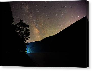 Boat Lights In Cheat Lake Under The Milky Way Canvas Print