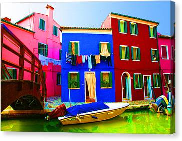 Canvas Print featuring the pastel Boat Matching House by Donna Corless