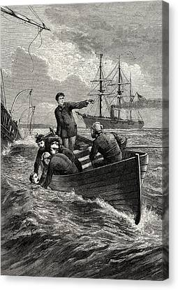 Rowboat Canvas Print - Boat Of The Deerhound Rescuing Captain Semmes by American School