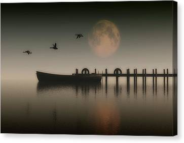 Boat On A Lake With Geese Flying Over Canvas Print
