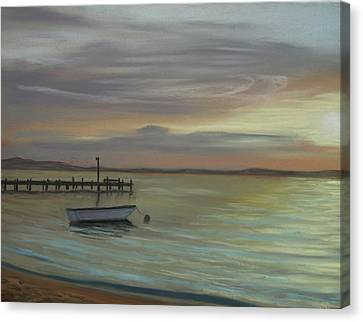 Boat On Bay Canvas Print by Joan Swanson