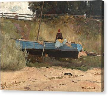 Boat On Beach, Queenscliff Canvas Print by Tom Roberts