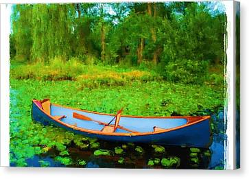 Boat On Bryant Pond Canvas Print by Jonathan Galente