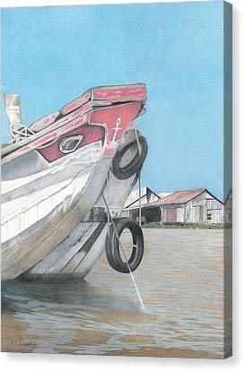 Boat On Mekong Canvas Print by Wilfrid Barbier