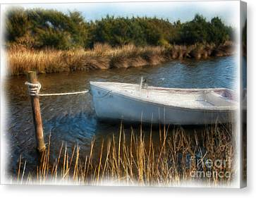Boat On Pamlico Sound Ocracoke Island Outer Banks Ap Canvas Print by Dan Carmichael