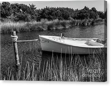 Boat On Pamlico Sound Ocracoke Island Outer Banks Bw Canvas Print by Dan Carmichael