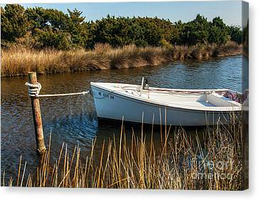 Boat On Pamlico Sound Ocracoke Island Outer Banks Canvas Print by Dan Carmichael