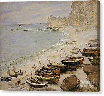 Boat On The Beach At Etretat Canvas Print