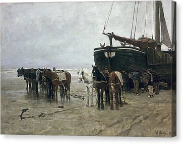 Boat On The Beach At Scheveningen Canvas Print