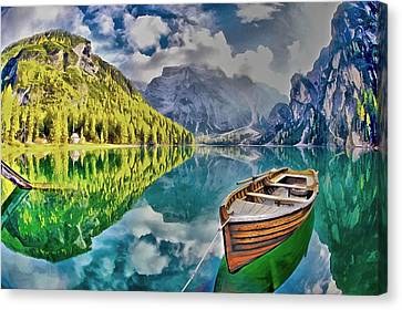 Boat On The Lake Canvas Print