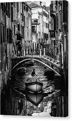 Canvas Print - Boat On The River-bw by Okan YILMAZ