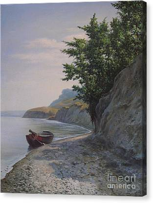 Boat On The Riverbank Canvas Print by Andrey Soldatenko