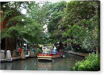 Boat On The San Antonio River Canvas Print by Dennis Stein