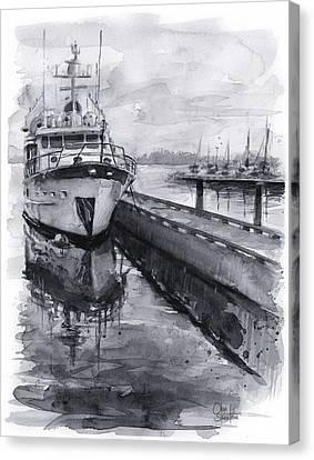 Boat On Waterfront Marina Kirkland Washington Canvas Print