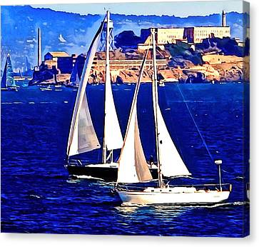 Boat Race At Alcatraz. Canvas Print