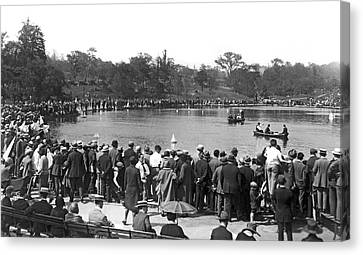 Boat Races In Central Park Canvas Print by Underwood Archives