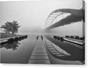 Boat Ramp Black And White At The 360 Bridge Austin Texas Canvas Print by Rob Greebon