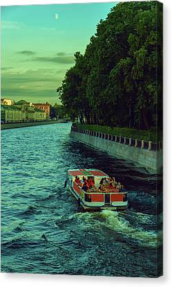 Boat Trips Along The Numerous Rivers And Canals Of The Evening St. Petersburg Canvas Print by George Westermak
