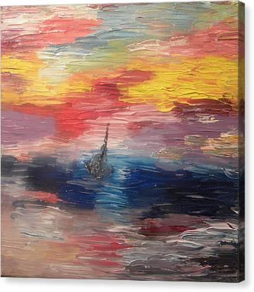 Boat Under Storm Canvas Print by Carmen Kolcsar