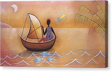 Boat With Blue Fish Canvas Print by Sally Appleby