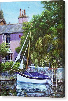 Canvas Print featuring the painting Boat With Pink House On River by Martin Davey